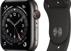 Apple Watch Series 6 GPS + Cellular 44 mm Graphite Stainless Steel Case with Black Sport Band(Black Strap & Regular)